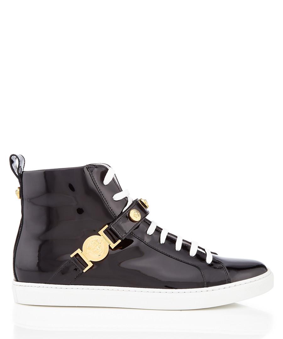 Black patent leather hi-top sneakers Sale - versace
