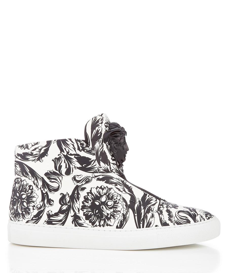Monochrome printed hi-top sneakers Sale - versace