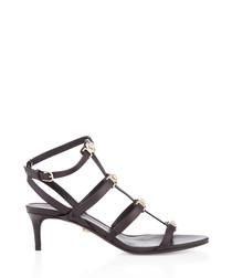 Black leather strappy kitten heels