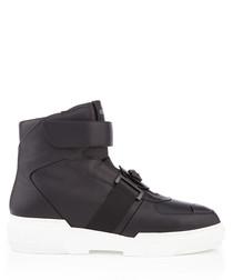 Black leather hi-top sneakers