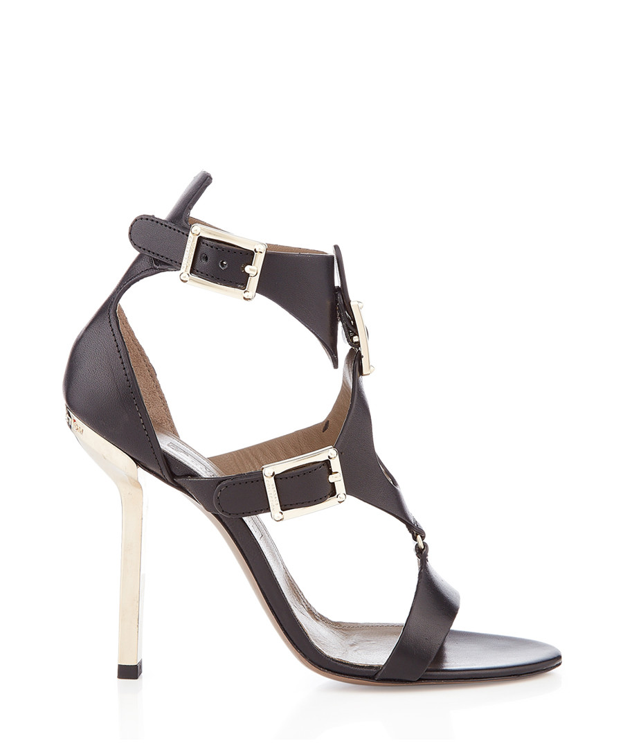 Black leather strappy heeled sandals Sale - Versace