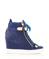 Blue leather zip-up wedged sneakers