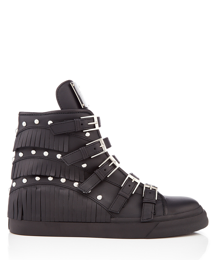 Black leather buckled hi-top sneakers Sale - giuseppe zanotti
