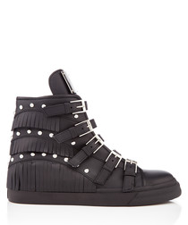 Black leather buckled hi-top sneakers