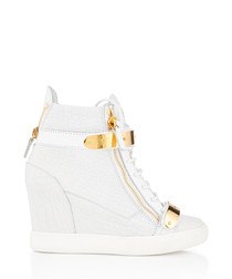 White leather zip-up wedged sneakers