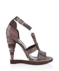 Brown snake cut-out wedge heels