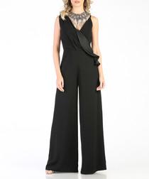 Black ruffle top wide-leg jumpsuit