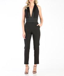 Black plunge jumpsuit