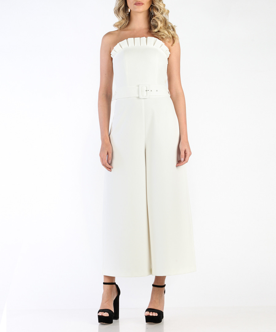 White belted wide-leg strapless jumpsuit Sale - carla by rozarancio