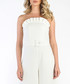 White belted wide-leg strapless jumpsuit Sale - carla by rozarancio Sale