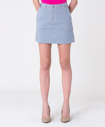blue & white stripe cotton skirt