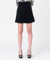 black mini skater skirt