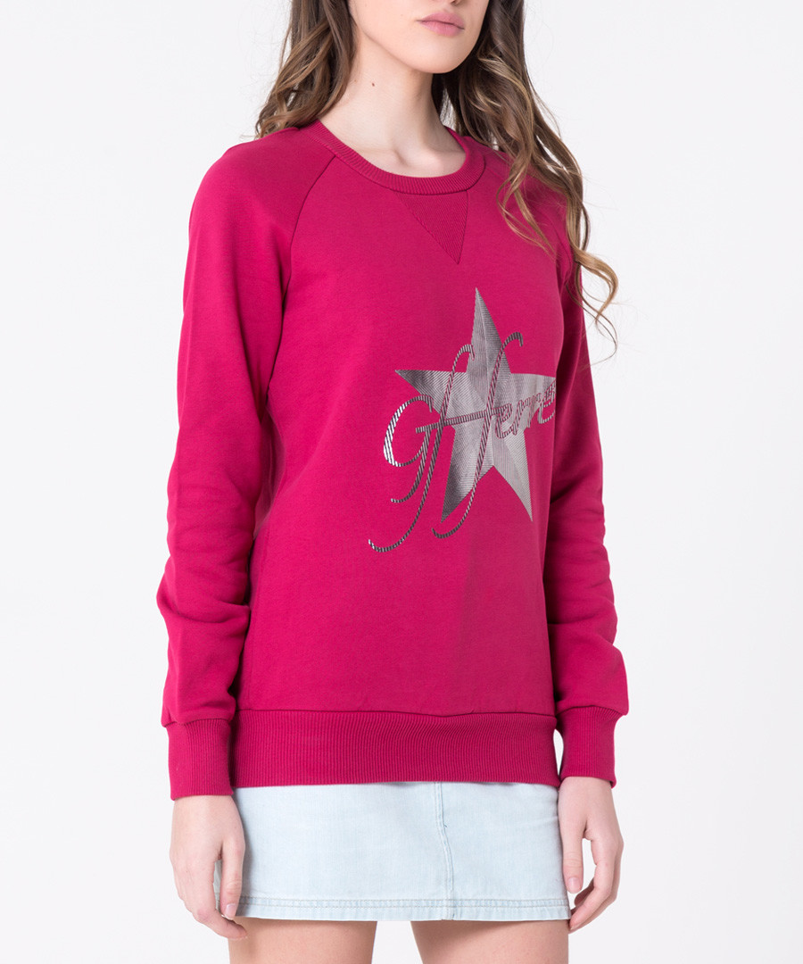 Berry pink cotton blend star jumper Sale - gianfranco ferre
