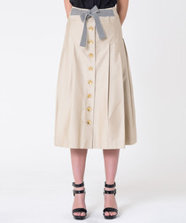 Beige cotton button midi skirt