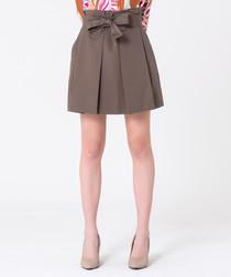taupe cotton & linen pleat mini skirt