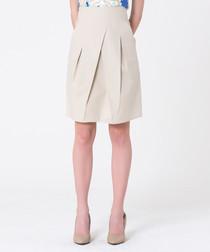 sand cotton pleat straight skirt