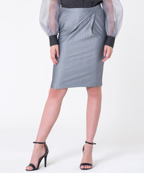 grey cotton & silk straight skirt