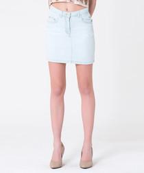 pale blue cotton mini skirt