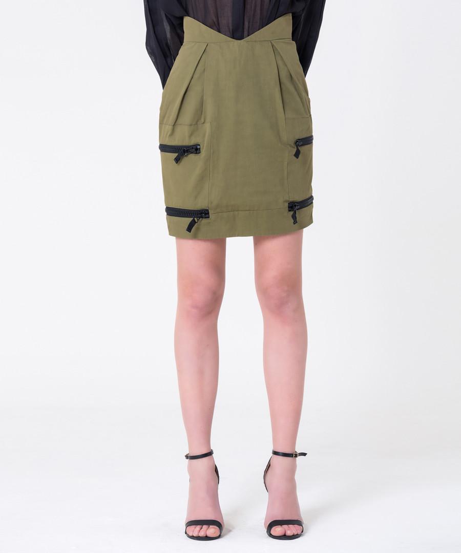 olive green cotton & linen mini skirt Sale - gianfranco ferre
