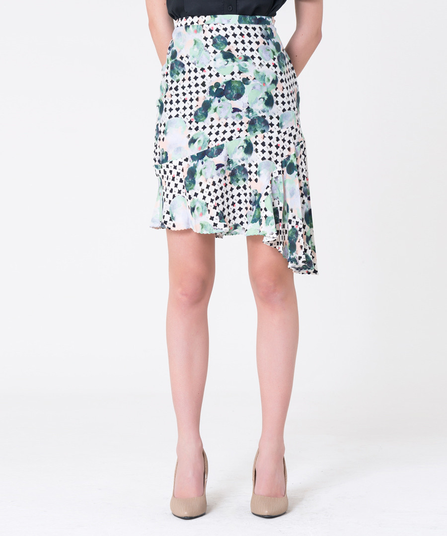 teal & polka pure silk wrap skirt Sale - gianfranco ferre