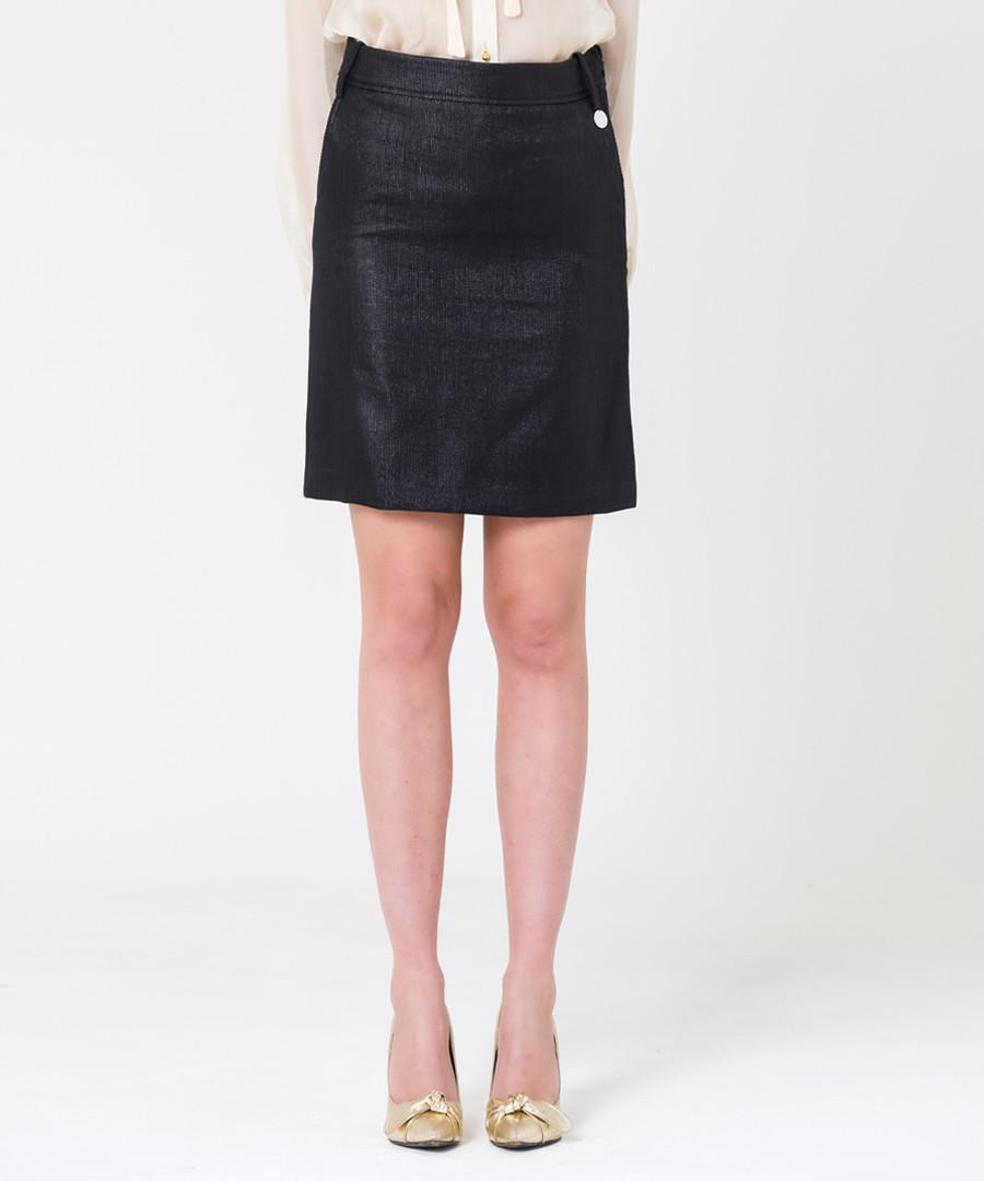 black shimmer cotton blend skirt Sale - gianfranco ferre