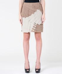 Beige & khaki silk panel skirt