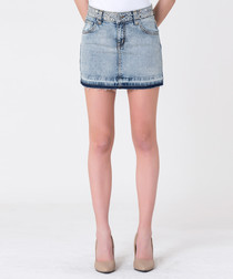 light wash cotton mini skirt