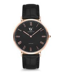 Love black moc-croc leather strap watch
