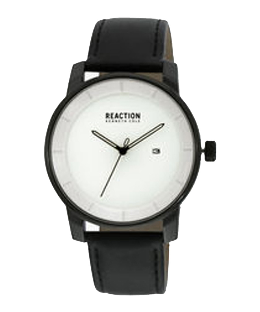 White & black leather strap watch Sale - ken cole