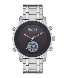 Silver-tone stainless steel strap watch