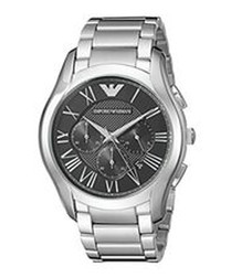 Stainless steel & black dial watch