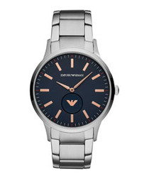 Navy & silver-tone link strap watch