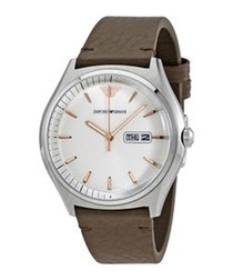 White & brown leather strap watch