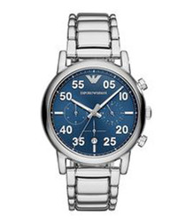 Blue & silver-tone stainless steel watch