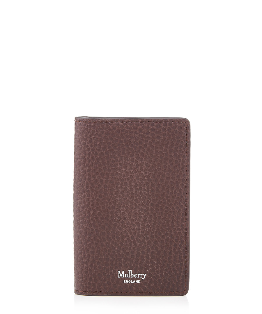 Chocolate grain leather card holder Sale - mulberry