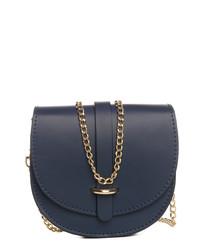 Fiora blue leather crossbody