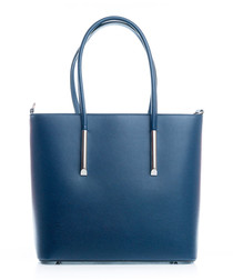 Chiusi blue leather shopper bag