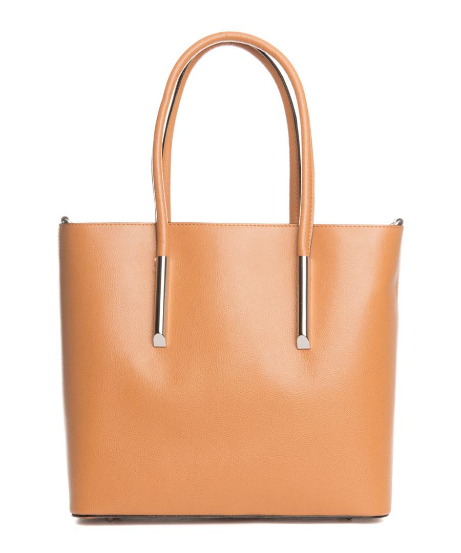 Chiusi tan leather shopper bag Sale - lucca baldi