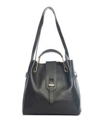 Vinci black leather shoulder bag
