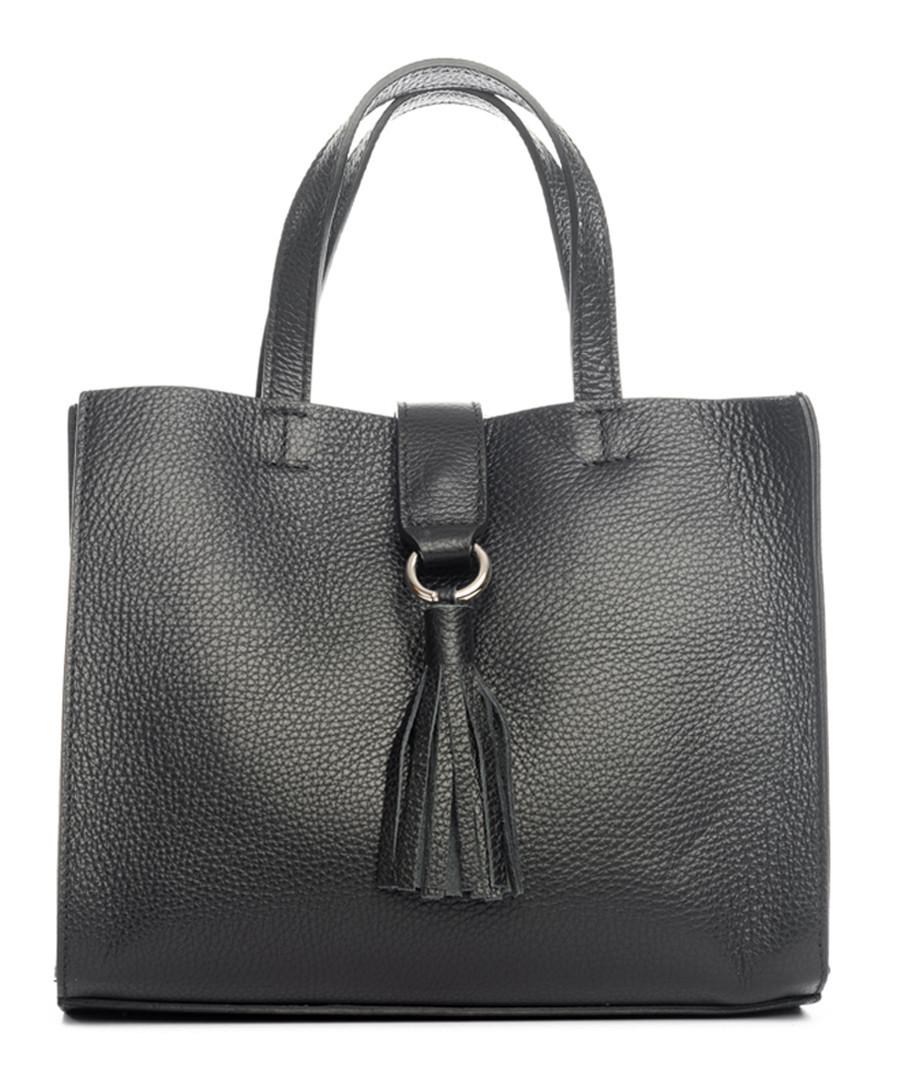 Monte pisanino black leather grab bag Sale - pia sassi