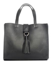 Monte pisanino black leather grab bag