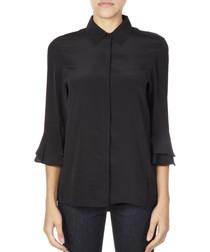 black pure silk button blouse