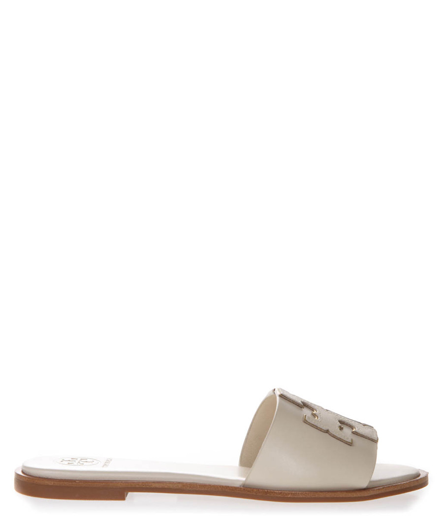 Ines cream leather logo slides Sale - tory burch