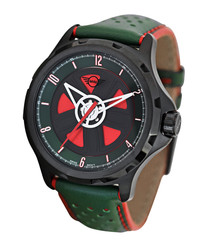 Bubble black steel & green leather watch