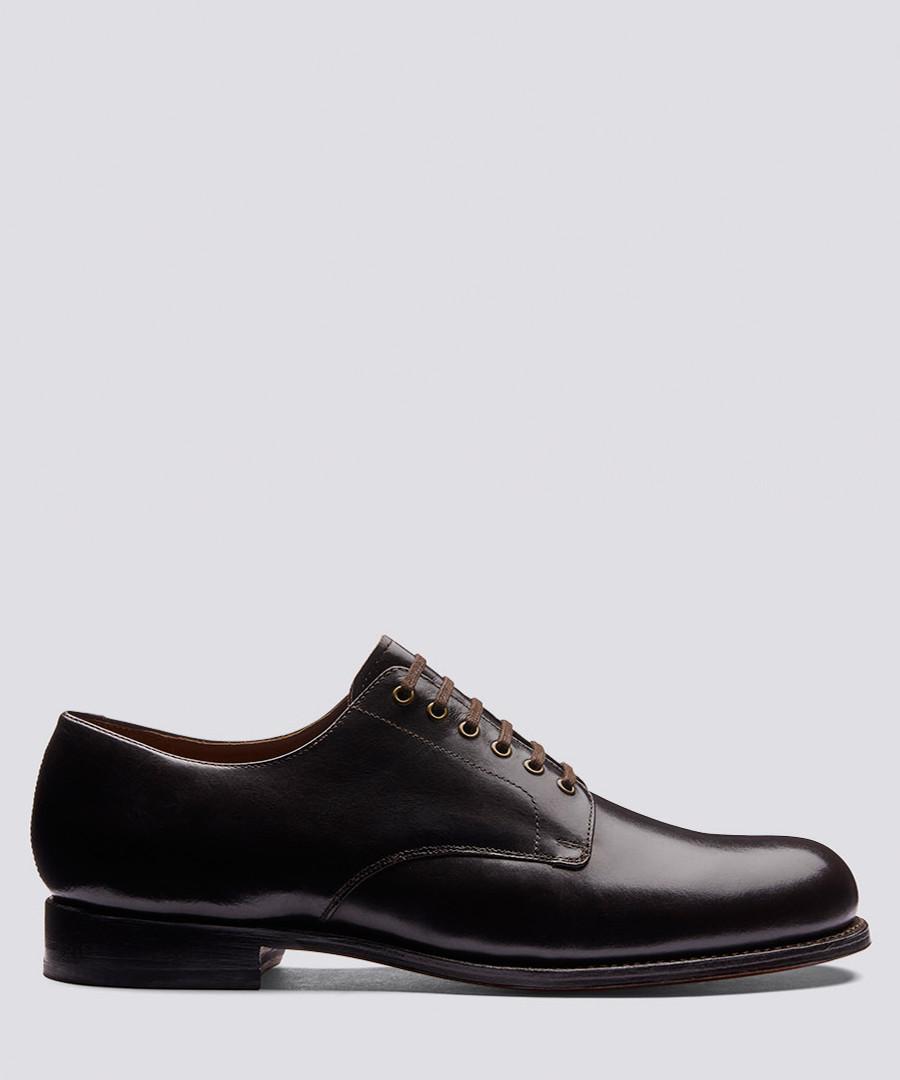 leo walnut leather derby shoes Sale - Grenson