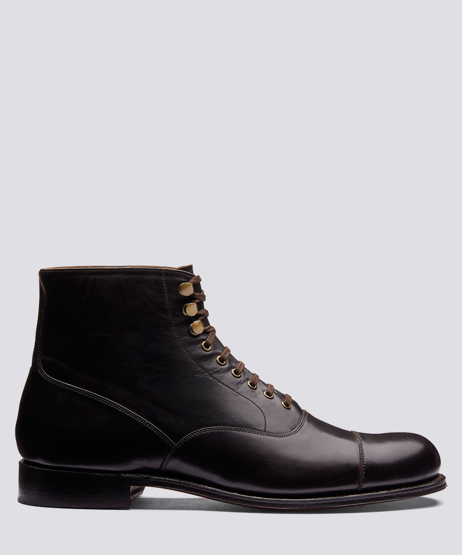 Leander walnut leather eyelet boots Sale - Grenson