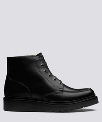 Buster black leather flat boots