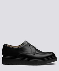 Barnett black leather flat derby shoes