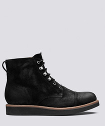 Newton black suede flat boots