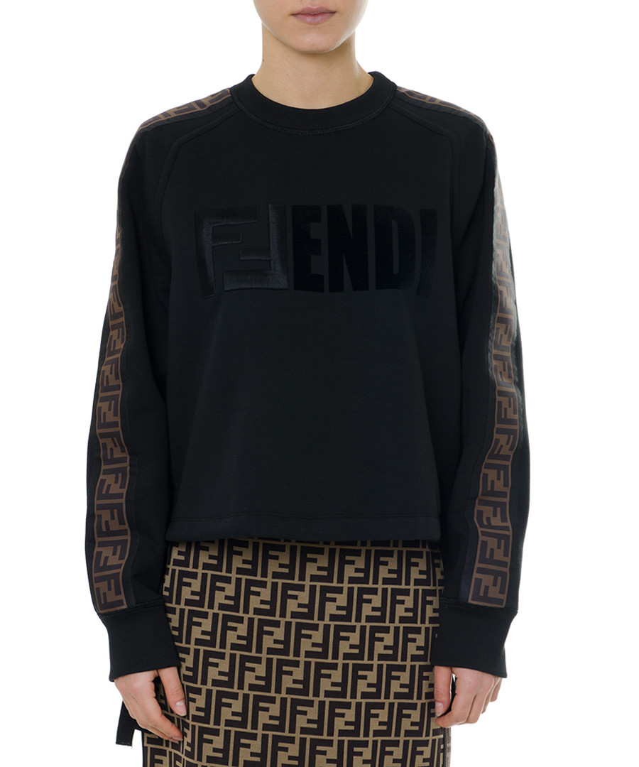 Black pure cotton logo sweatshirt Sale - fendi
